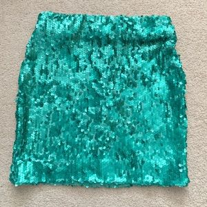 Dress The Population Turquoise Sequin Mini Skirt